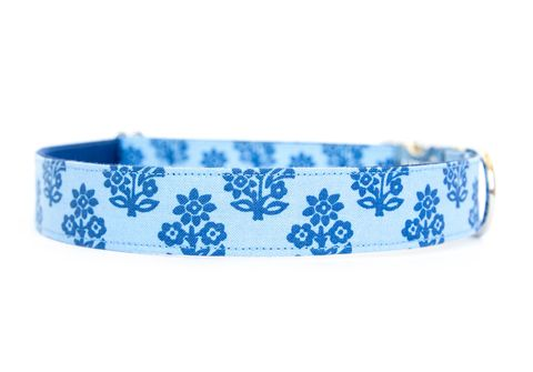 Block,Print,Dog,Collar,dog collar, block print, nickel hardware, blue, peter dunham