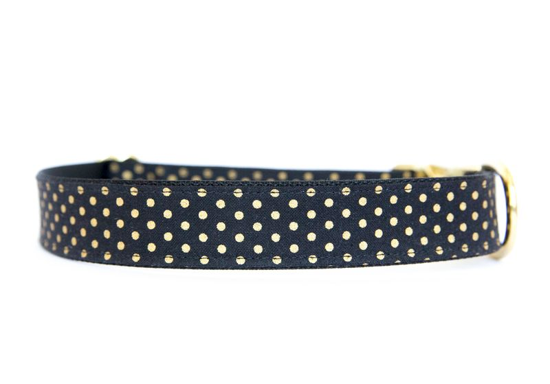 Metallic Gold Polka Dot Collar - Black - product images  of