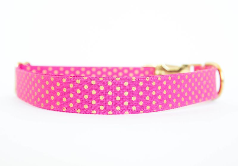 Metallic Gold Polka Dot Collar - Pink - product images  of