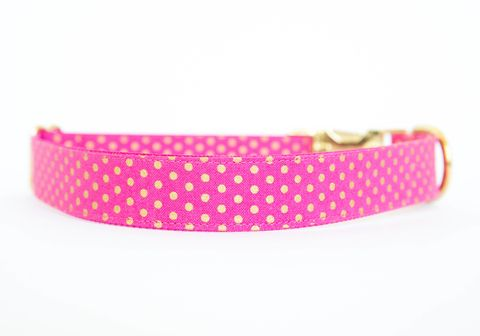 Metallic,Gold,Polka,Dot,Collar,-,Pink,polka dot dog collar, gold dog collar, metallic, dog collar, black, wedding dog collar
