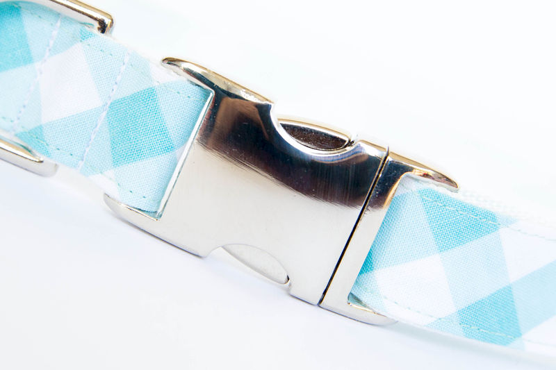 Dog Bowtie Collar - Turquoise Gingham - product images  of