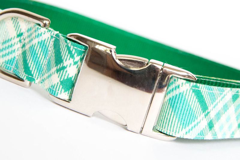 Summer Plaid Bow Tie Dog Collar - Turquoise & Green - product images  of