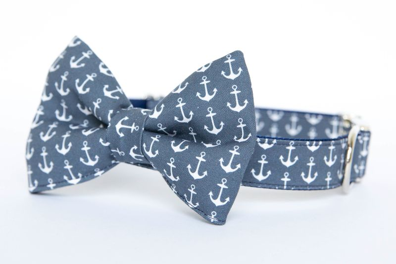 Bow Tie Dog Collar - Navy Anchors - product images  of