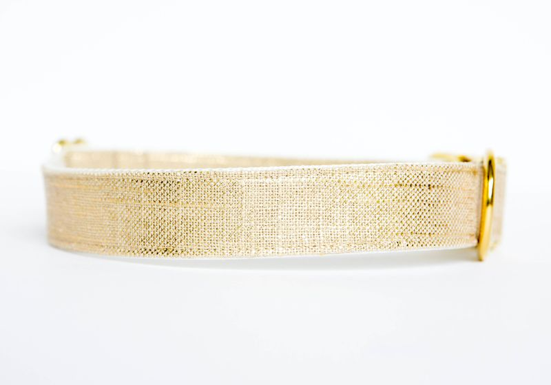 Metallic Gold Linen Dog Collar - product images  of