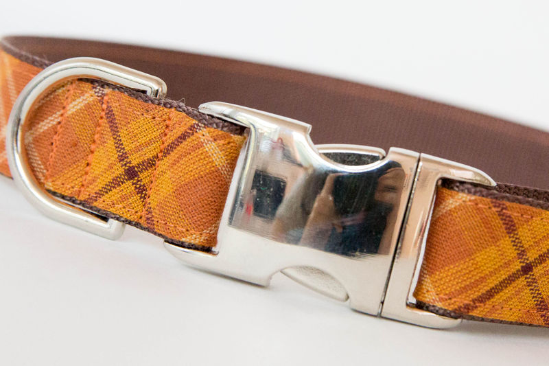 Bow Tie Dog Collar - Pumpkin Plaid - product images  of