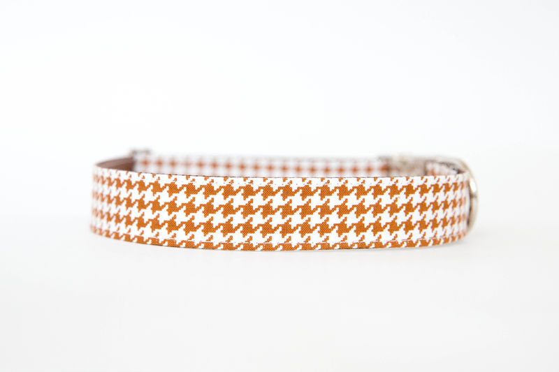 Bowtie Dog Collar - Saddle Brown Houndstooth - product images  of