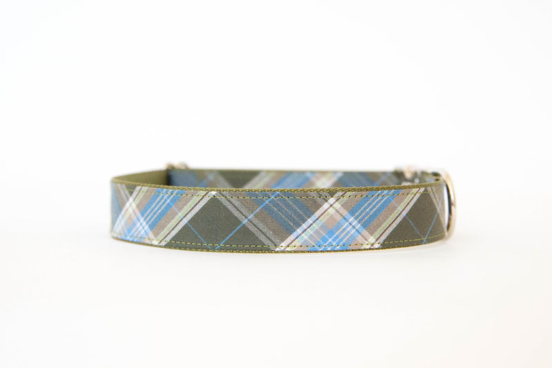 Bowtie Dog Collar - Olive Plaid - product images  of