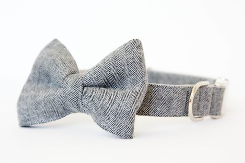 Dog,Bow,Tie,Collar,-,Grey,Herringbone,Flannel,dog collar, dog bow tie, dog bowtie, bow tie dog collar, bowtie dog collar, herringbone, grey, gray