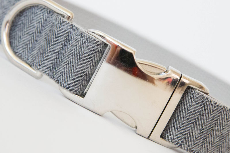 Dog Bow Tie Collar - Grey Herringbone Flannel - product images  of
