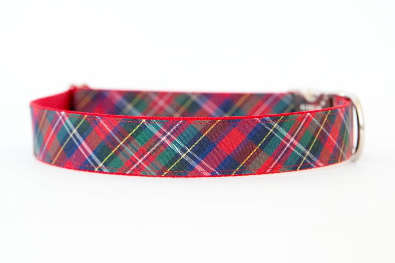 Christmas Dog Bowtie Collar - Red Holiday Tartan - product images  of