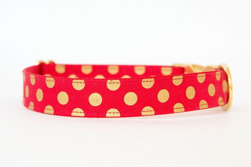Christmas Dog Collar - Red & Metallic Gold Polka Dots - product images  of
