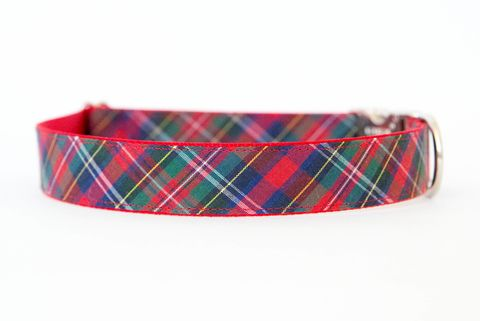 Christmas,Dog,Collar,-,Red,Tartan,christmas dog collar, dog collar, plaid dog collar, tartan dog collar, red