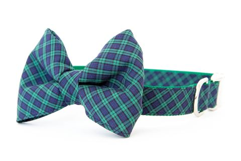 Bowtie,Dog,Collar,-,Navy,&,Green,Mini,Plaid,dog collar, dog bow tie, dog bowtie, bow tie dog collar, bowtie dog collar, plaid, tartan, olive, green