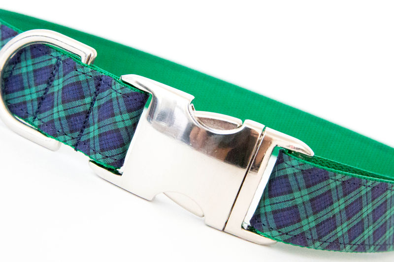 Bowtie Dog Collar - Navy & Green Mini Plaid - product images  of