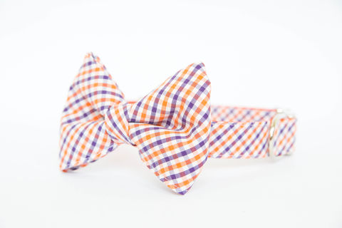 Clemson,University,Check,Bowtie,Dog,Collar,dog collar, dog bow tie, dog bowtie, bow tie dog collar, bowtie dog collar, stripes, clemson, tigers, orange, purple
