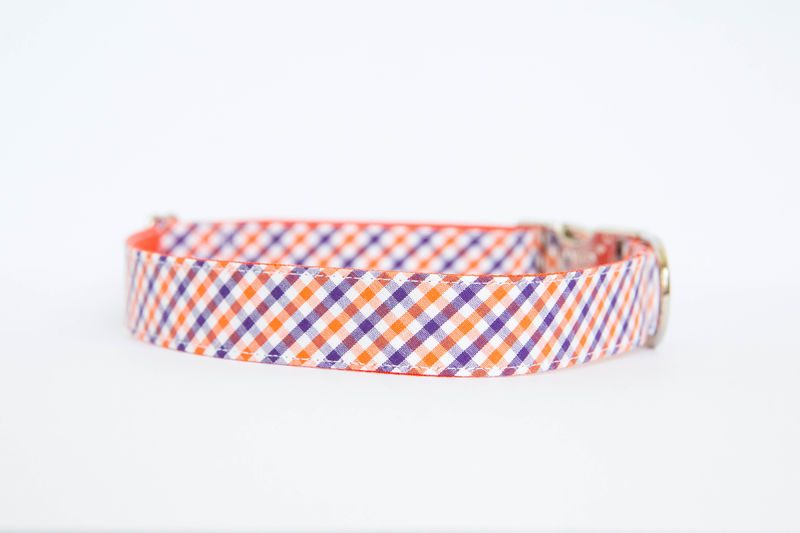 Clemson University Check Bowtie Dog Collar - product images  of