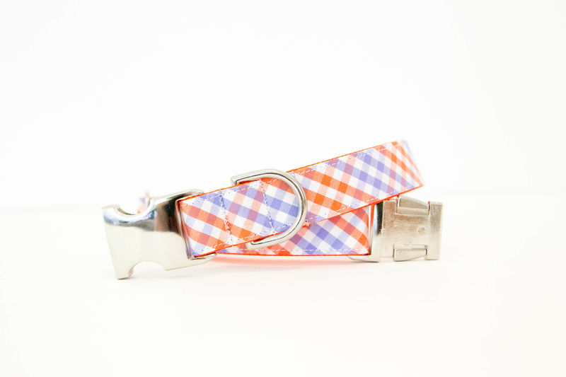 Clemson University Plaid Bowtie Dog Collar - product images  of