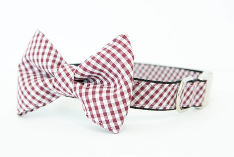USC,Gamecocks,Gingham,Bowtie,Dog,Collar,dog collar, dog bow tie, dog bowtie, bow tie dog collar, bowtie dog collar, gingham, sec dog collar, usc dog collar, gamecocks dog collar, garnet and black