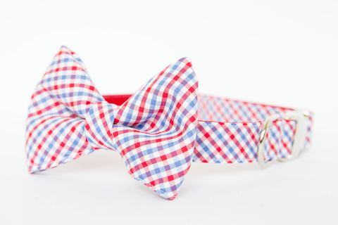 Ole,Miss,Gingham,Bowtie,Dog,Collar,dog collar, dog bow tie, dog bowtie, bow tie dog collar, bowtie dog collar, gingham, sec dog collar, ole miss dog collar, red white and blue, rebel