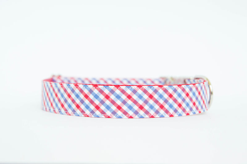 Ole Miss Gingham Bowtie Dog Collar - product images  of