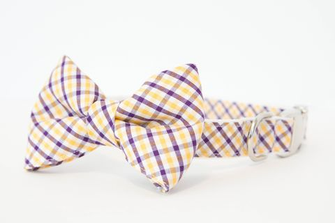 LSU,Tigers,Gingham,Bowtie,Dog,Collar,dog collar, dog bow tie, dog bowtie, bow tie dog collar, bowtie dog collar, gingham, sec dog collar, lsu tigers, louisiana state, gold and purple