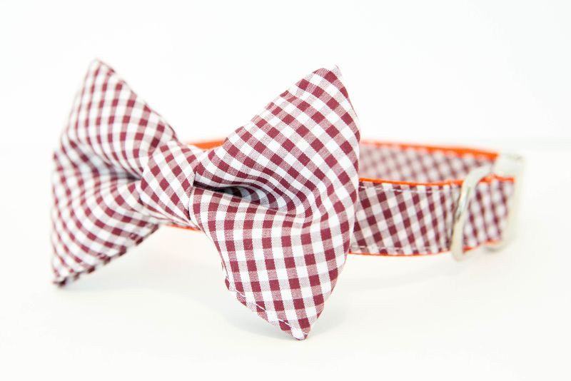 Virginia Tech Hokies Gingham Bowtie Dog Collar - product images  of