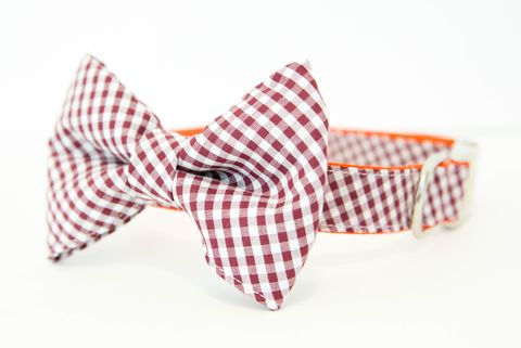 Virginia,Tech,Hokies,Gingham,Bowtie,Dog,Collar,dog collar, dog bow tie, dog bowtie, bow tie dog collar, bowtie dog collar, gingham, acc dog collar, virginia tech dog collar, hokies, maroon, orange