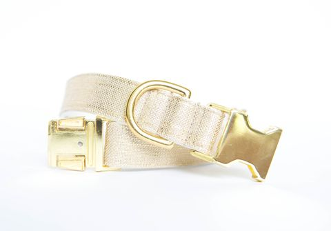 Metallic,Gold,Linen,Dog,Collar,gold dog collar, metallic, linen dog collar, wedding dog collar