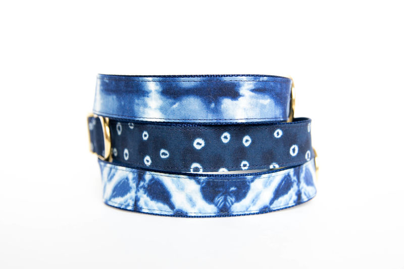 Polka Dot Indigo Batik Dog Collar - product images  of