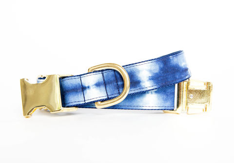 Stripe,Indigo,Batik,Dog,Collar,gold dog collar, batik dog collar, indigo, shibori dog collar, blue dog collar, batik, navy dog collar, gold hardware, brass hardware, polka dots, polka dot dog collar