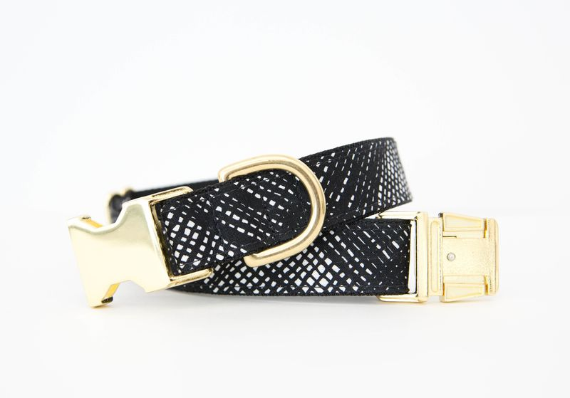 Black and White Basketweave Dog Collar - product images  of