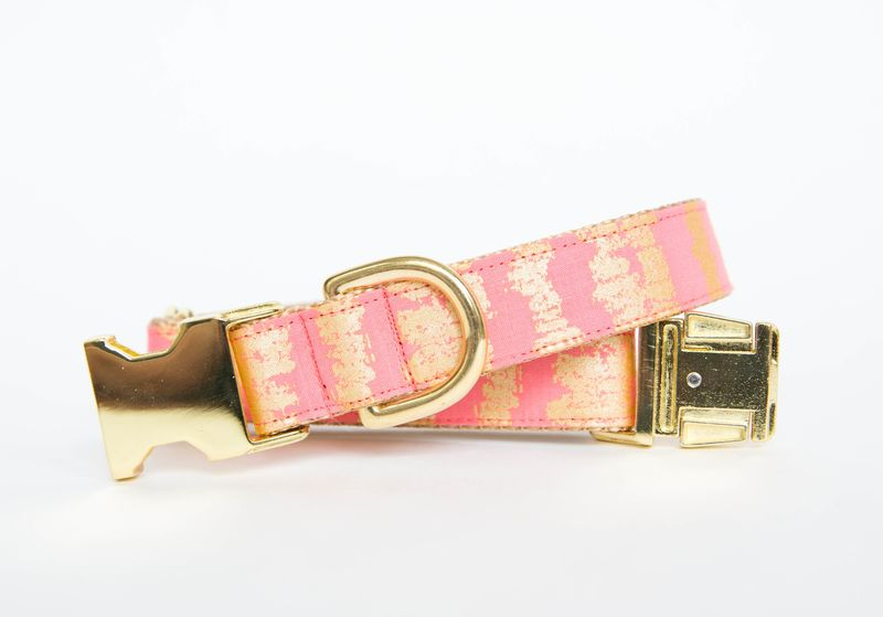 Bright Pink and Gold Sketch Dog Collar - product image