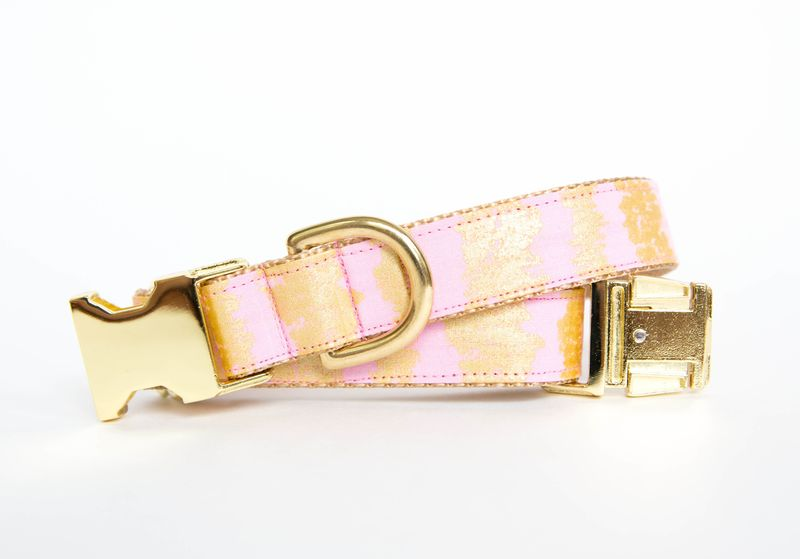 Pale Pink and Gold Sketch Dog Collar - product image