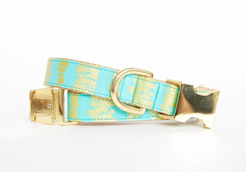 Turquoise and Gold Sketch Dog Collar - product image