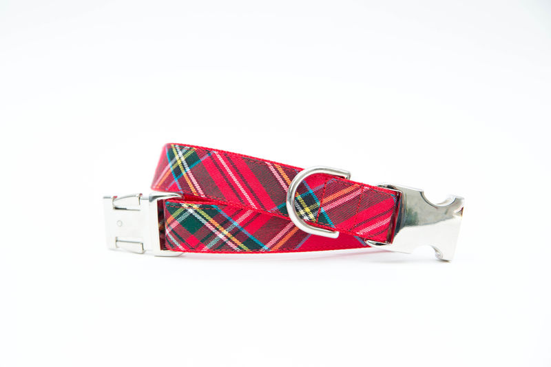 Classic Red Tartan Bowtie Dog Collar - product images  of