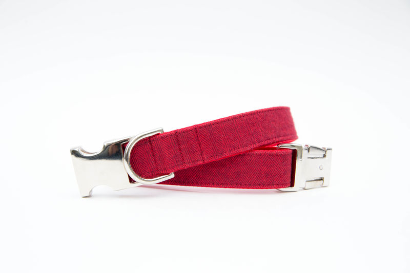 Red Flannel Herringbone Bowtie Dog Collar - product images  of