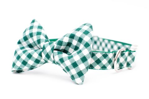 Pine,Green,and,Ivory,Flannel,Bowtie,Dog,Collar,dog collar, dog bow tie, dog bowtie, bow tie dog collar, bowtie dog collar, christmas dog collar, plaid dog collar, tartan, green plaid dog collar, red, green, emerald
