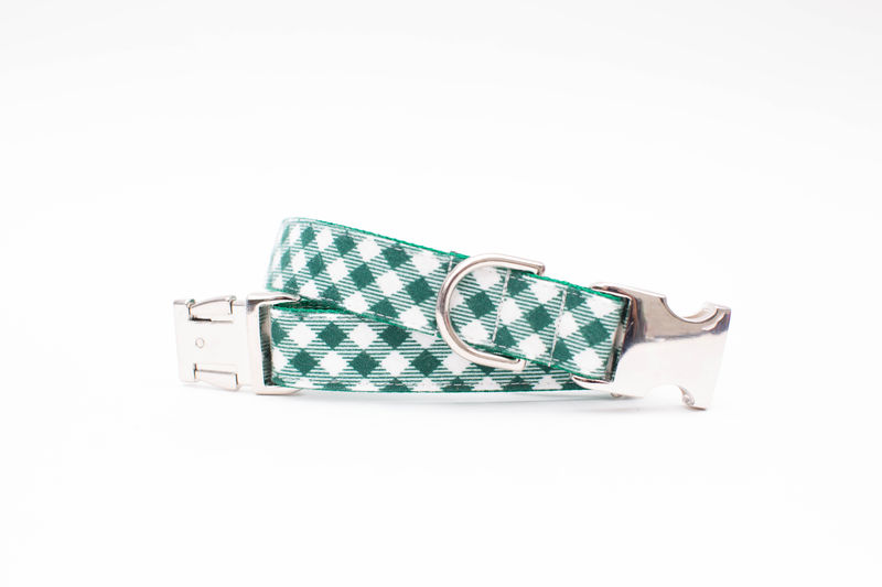 Pine Green and Ivory Flannel Bowtie Dog Collar - product images  of