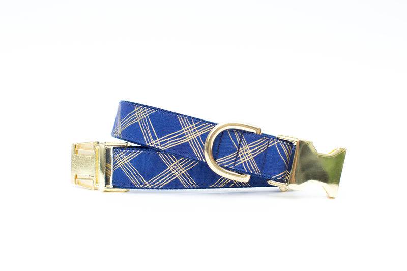 Navy and Gold Plaid Bow Tie Dog Collar - product images  of