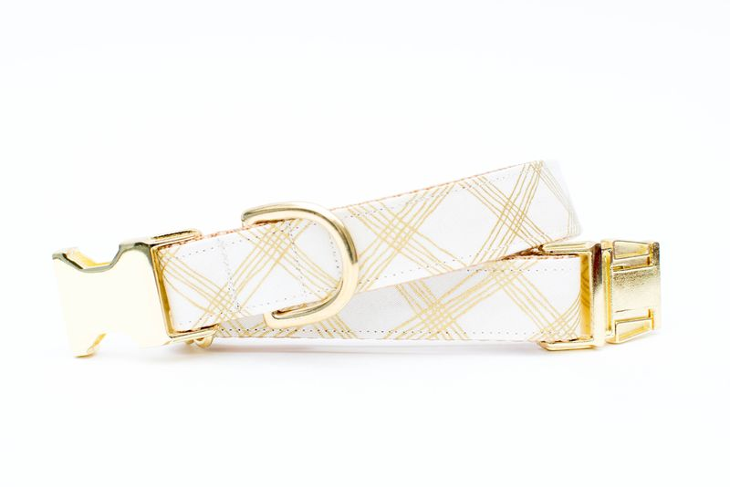 Metallic Gold Plaid Dog Collar - product image