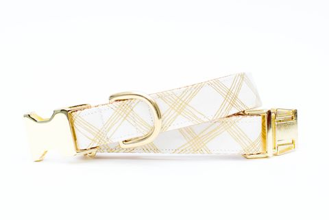 Metallic,Gold,Plaid,Dog,Collar,gold dog collar, metallic, linen dog collar, wedding dog collar