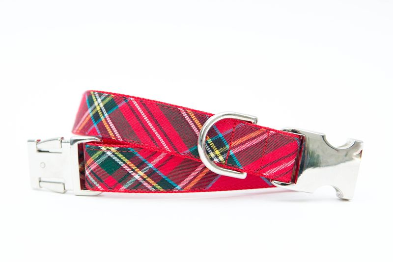 Red Tartan Christmas Dog Collar - product image