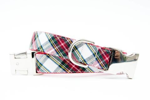 Ivory,Tartan,Christmas,Dog,Collar,christmas dog collar, dog collar, plaid dog collar, tartan dog collar, red