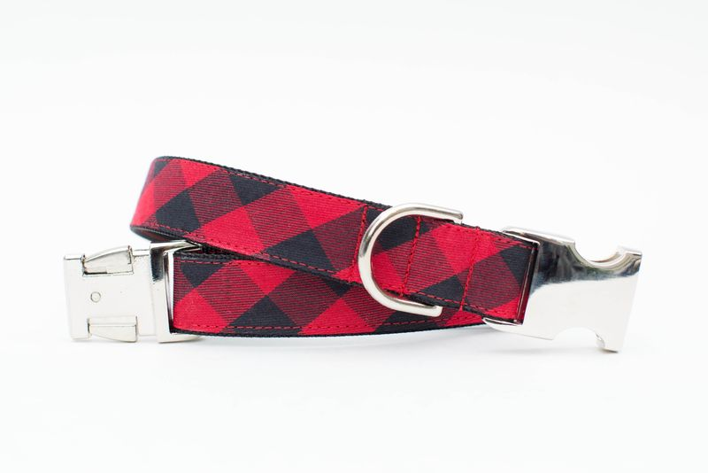 Red Buffalo Check Winter Dog Collar - product image