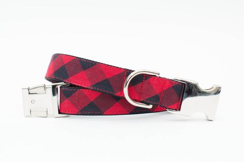 Red,Buffalo,Check,Winter,Dog,Collar,christmas dog collar, dog collar, plaid dog collar, tartan dog collar, red