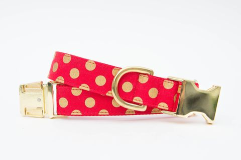Christmas,Dog,Collar,-,Red,and,Gold,Polka,Dots,christmas dog collar, dog collar, polka dot dog collar, red, gold