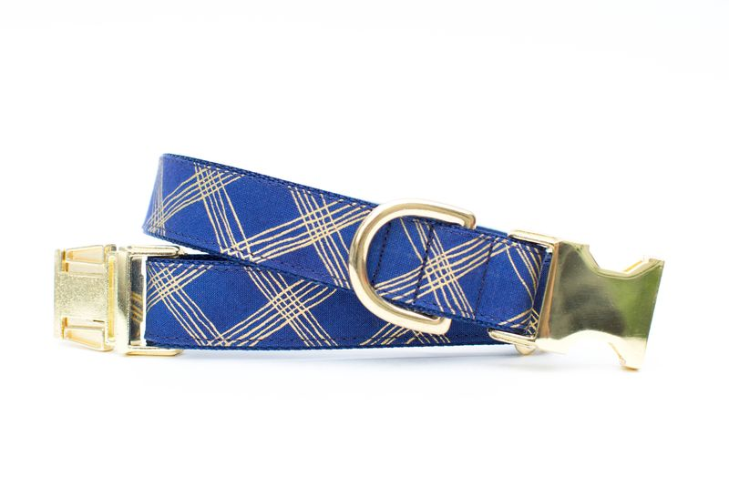Navy and Metallic Gold Plaid Dog Collar - product image