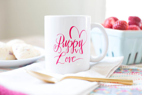 Puppy,Love,Mug,mug, dog mug, hand lettered mug, puppy love, dog love, valentine's day, valentine's day mug, puppy mug