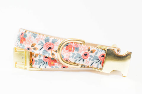 Les,Fleurs,Rosa,Flora,Dog,Collar,in,Peach,gold dog collar, metallic, pink dog collar, pink and gold dog collar, metallic gold, rifle paper co, rifle paper dog collar, peach dog collar