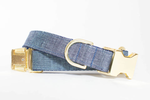 Watercolor,Linen,Dog,Collar,in,Indigo,gold dog collar, periwinkle dog collar, blue and gold dog collar, metallic gold, linen dog collar, indigo dog collar, navy dog collar, navy and gold dog collar, rustic linen